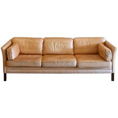 Vintage Danish Leather Three-Seat Sofa