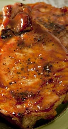 Marinated Baked Pork Chops Recipe ~ with soy sauce, Worcestershire sauce, lemon juice, brown sugar, and ketchup.