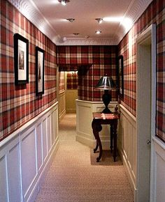 Traditional country house style hallway with tartan wallpaper… – Home Decor Style At Home, Country Style Homes, Tartan Decor, Tartan Plaid, Tartan Fabric, Scottish Decor, Scottish Plaid, Tartan Wallpaper, Apartments