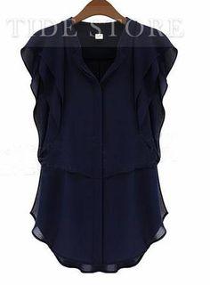 Stylish Multi-layers Falbala Fashion Shirt: tidestore.com