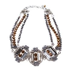 Mulit-color crystal & bead necklace