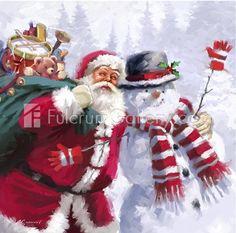 Solve Christmas Scene - Art by the Macneil Studio, 'Santa meets a Snowman' jigsaw puzzle online with 64 pieces Christmas Scenes, Christmas Pictures, Christmas Art, Christmas Greetings, Christmas Nails, Illustration Noel, Christmas Illustration, Illustrations, Hanging Art