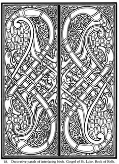 Decorative panels for the Gospel of St. Luke in the Book of Kells