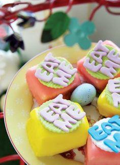 Alice in Wonderland 'Eat Me' petit fours for Easter - Belle's Patisserie Easter 2014, Cupcake Ideas, Alice In Wonderland, Sugar, Cookies, Baking, Eat, Desserts, Food