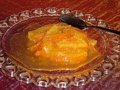 Orange Spoon Sweet - It's common practice in Greece if you visit someone during the day or early evening, to be offered a spoon sweet, or 'gliko koutaliou'. This is a sweet made from fruit and kept in a jar, to be served on sweet dish (preferrable glass) whenever someone comes. All types of fruit are used, but this particular recipe is for orange. It's really easy to make and is a delightful sweet to eat.