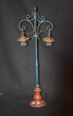 Old Doll Miniature Marklin Street Lamp Copper & Brass Light Ornate Dollhouse