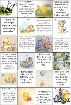 Various quotes from The Many Adventures of Winnie the Pooh. Great for or framing and hanging in a or child's playroom. Or just because you are an adult and love Winnie-The-Pooh Winnie The Pooh Quotes, Disney Winnie The Pooh, Eeyore Quotes, Tao Of Pooh Quotes, A A Milne Quotes, Winnie The Pooh Decor, New Quotes, Inspirational Quotes, Smile Quotes