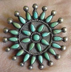 Vintage old pawn pin/pendant with petit point green turquoise in a sunburst motif