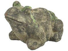 Statuine decorative da giardino rana su pietra in ceramica