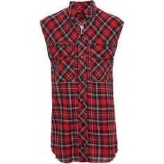Filles A Papa Sleeveless Checked Shirt (€335) ❤ liked on Polyvore featuring tops, red checked shirt, sleeveless collared shirt, red collar shirt, sleeveless shirts and shirts & tops