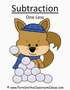 Fern Smith's FREE Winter Subtraction One Less Concept Center & Interactive Notebook Activity at Classroom Freebies