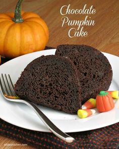 Chocolate Pumpkin Cake - chocolaty, fudgy cake with a hint of spice...made a little healthier!
