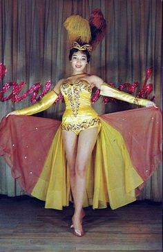 A classic yellow showgirl costume.