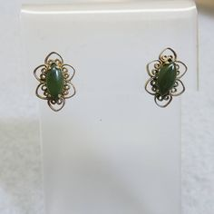 Vintage Jadeite Filigree Pierced Earrings, Golden Filigree Setting