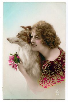 vintage lady & dog