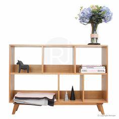 This has a sleek but interesting look that i   I like. Haakon Scandinavian style bookshelf in oak from Retrojan