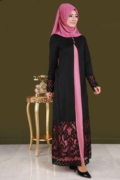 Önden Yarım Düğmeli Dantel Detay 2'li Takım BNM00227 Gül Kurusu - Thumbnail Abaya Designs, Brokat, Abaya Fashion, Muslim Women, The Dress, Lace Detail, Clothes For Women, Front Lace, Dresses