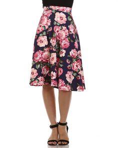 Vintage Floral A-Line Skirt