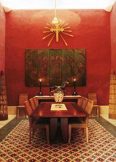 Hacienda Style in Red #Mexico #casa #hacienda #interiordesign