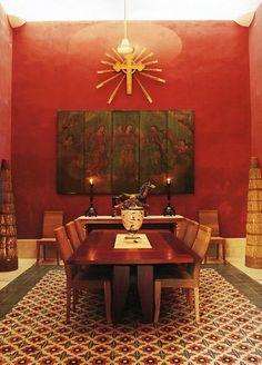 Hacienda Style in Red #Mexico #casa #hacienda #interiordesign