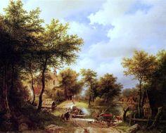 Barend Cornelis Koekkoek - The Ferry Crossing
