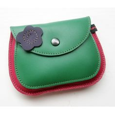 Leather Large Purse, Pink Dragon, Emerald, MERRY