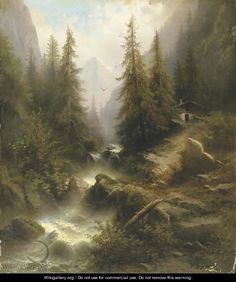 Waterfall cascading amongst the Pine trees in the Alps by Albert Rieger, oil painting