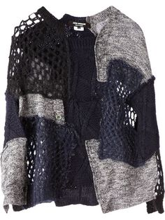 Shop Junya Watanabe Comme Des Garçons knitted patchwork sweater in L'Eclaireur…