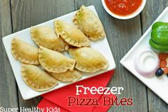 FOOD - Pizza Bites for Kids.  Let your kids fill it with their choice of toppings.  Great snack or meal to pull out of the freezer in a pinch! #healthyfreezermeals #pizza from Super Healthy Kids http://www.superhealthykids.com/blog-posts/freezer-pizza-bites.php