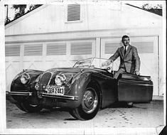 Clark Gable with his Jaguar XK120