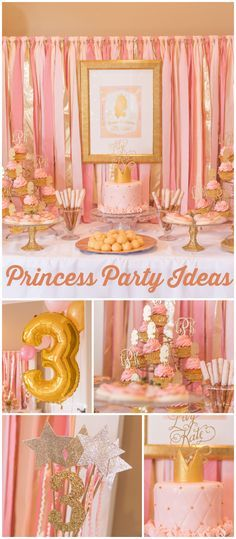 Isn't this princess birthday party gorgeous? Beautiful pink and gold backdrop! See more party planning ideas at CatchMyParty.com!