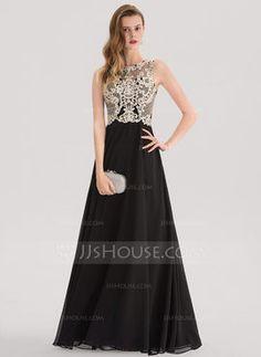 fc01367ce A-Line Princess Scoop Neck Floor-Length Chiffon Evening Dress With Beading  Sequins (017153387)