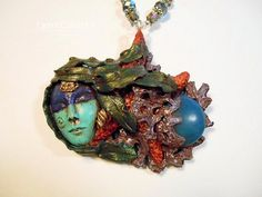 RESERVED for DENA Spirit/Goddess of Tranquility polymer clay jewelry pendant necklace handmade One of a Kind by LynzCraftz on Etsy