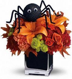 Custom Halloween arrangement with homemade spider.