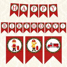 Happy Birthday Template, Happy Birthday Banners, Boy Birthday, Diy Party Banner, Party Banners, Fireman Party, Firefighter Birthday, Printable Banner, Fire Trucks