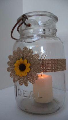 12 Burlap Daisy Sunflowers Mason Jar Candle Centerpiece Wedding Party Wraps N24 #BurlapBrides