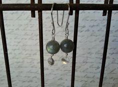 Labradorite earrings sterling silver gemstone by MaisyGraceDesigns