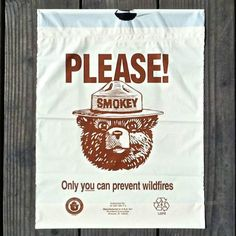 4 Original 1970s SMOKEY THE BEAR Litter Bag Plastic ONLY YOU CAN PREVENT Fires #SmokeytheBear