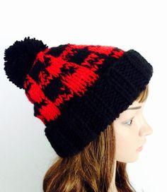 89fa5462 Red Buffalo Plaid Hat, Hand Knit Winter Hat, Plaid Pom Pom Beanie, Cuffed  Knit Hat, Lumberjack Plaid Ski Hat, Snow board Beanie