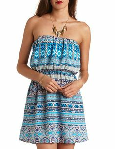 Printed Strapless Dress: Charlotte Russe