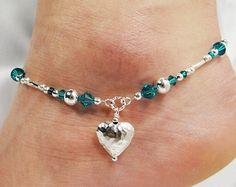 Anklet Jewelry Anklet Ankle Bracelet with glass pearl dangle: gunmetal grey Swarovski crystals, midnight dark blue glass pearls, antique silver metallic glass - Homemade Jewelry, Diy Jewelry, Beaded Jewelry, Jewelry Bracelets, Jewelery, Jewelry Design, Jewelry Making, Pandora Bracelets, Gold Jewelry