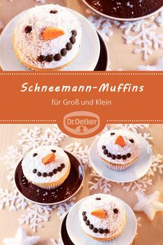 Snowman cupcakes - Snowman Muffins: Sweet little lemon muffins with winter decorations for young and old - Paleo Dessert, Pumpkin Dessert, Muffin Recipes, Cake Recipes, Dessert Recipes, Lemon Desserts, Fondant Tips, Fondant Cakes, Easy Christmas Treats