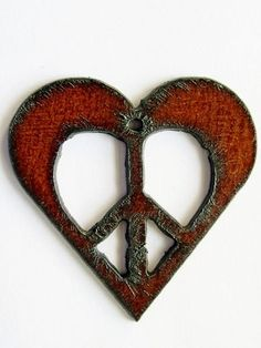 Heart w/Peace Sign - Rustic Iron Pendant #bohemian ☮k☮ #boho