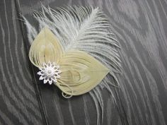Bleached Ivory Peacock Feather Hair Clip Fascinator with Ostrich feather and Silver Accent Piece and Pearls Feather Hair Clips, Ostrich Feathers, Feathered Hairstyles, Accent Pieces, Fascinator, Bleach, Peacock, Your Hair, Ivory