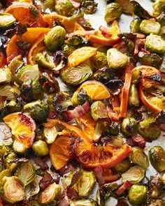 Small thin-skinned oranges work best here. Look for organic, as you are going to want to eat the whole fruit. The combination of sweet orange, lightly smoky bacon, and caramelized brussels sprouts is absolutely addictive.