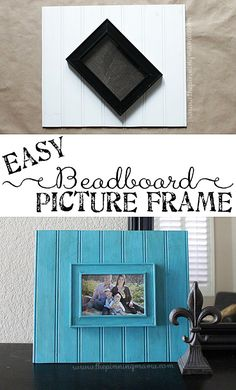 Old picture frame plus beadboard =  Totally gorgeous  DIY chunky picture frame.  LOVE!