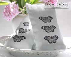 Butterfly Lavender Bag in black from www.snowgooseuk.com also available in blue, mauve and pink