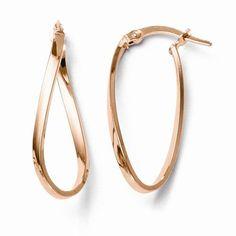 Leslies 10k And Rose Gold Polished Hinged Hoop Earrings