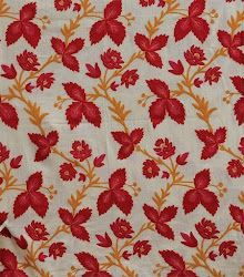 Crewel Rug Leaves on Vines Red Cotton Duck Fabric Type: Cotton Duck Fabric Detail: Crewel Chainstitch Embroidery with Wool on Cotton Canvas Pattern: Leaves on Vines Pattern Detail: Jacobean Floral Color: Red Visit us @ www.crewelfabricworld.com or call us at 404-966-7806