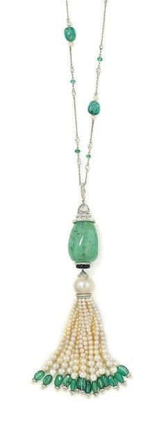 AN EMERALD, DIAMOND AND CULTURED PEARL PENDANT NECKLACE: The tumble polished…